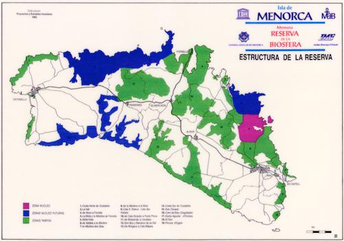 Mostra de la cartografia que acompanyava la memòria de presentació de candidatura de Menorca com a reserva de biosfera (any 1992).